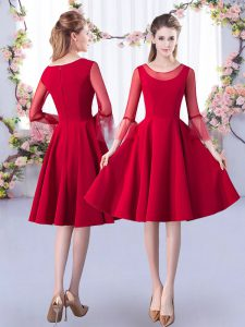 Fancy Satin 3 4 Length Sleeve Knee Length Bridesmaid Dresses and Ruching