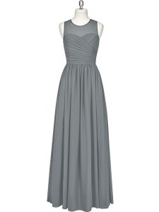 Simple Sleeveless Chiffon Floor Length Zipper in Grey with Ruching