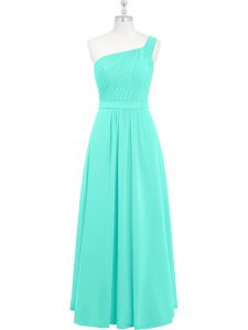 High Class Aqua Blue One Shoulder Neckline Ruching Homecoming Dress Sleeveless Zipper