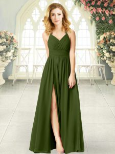 Sleeveless Chiffon Floor Length Zipper Prom Party Dress in Olive Green with Ruching