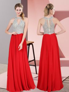 Lovely Red Sleeveless Floor Length Beading and Lace Zipper Homecoming Dress