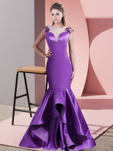 Best Selling Eggplant Purple Mermaid Scoop Sleeveless Satin Sweep Train Side Zipper Appliques Dress for Prom