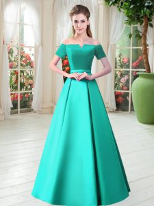 Sumptuous Turquoise Satin Lace Up Off The Shoulder Short Sleeves Floor Length Prom Dresses Belt