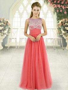 Sweet Floor Length Empire Sleeveless Watermelon Red Prom Gown Side Zipper