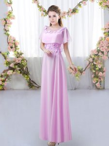 Excellent Floor Length Lilac Bridesmaids Dress Scoop Short Sleeves Zipper