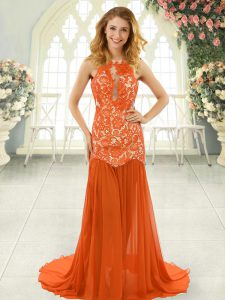 Orange Red Scoop Backless Lace Evening Dress Brush Train Sleeveless