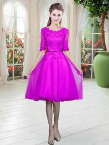 Traditional Lace Prom Evening Gown Fuchsia Lace Up Half Sleeves Knee Length