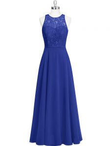 Super Royal Blue Scoop Neckline Lace Prom Gown Sleeveless Zipper