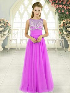 Luxury Floor Length Lilac Prom Evening Gown Scoop Sleeveless Side Zipper