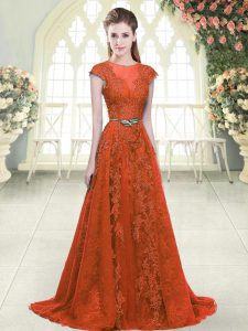 Orange A-line Scoop Cap Sleeves Tulle Sweep Train Zipper Beading and Lace Prom Dress