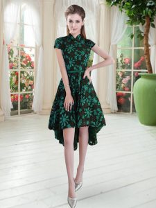 Glamorous Green High-neck Zipper Appliques Homecoming Dress Short Sleeves