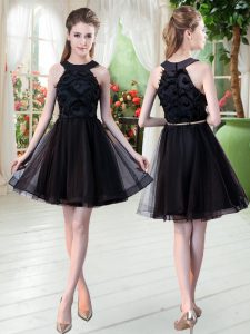 Fantastic Mini Length Zipper Prom Party Dress Black for Prom and Party with Belt