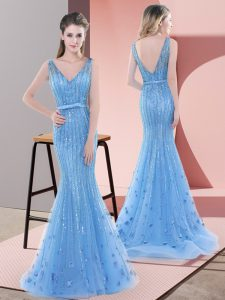 V-neck Sleeveless Sweep Train Backless Evening Dress Baby Blue Tulle