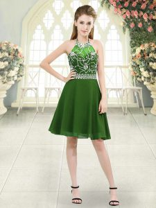 Clearance Halter Top Sleeveless Prom Party Dress Knee Length Beading Green Chiffon