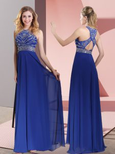 Pretty Blue Prom Dresses Satin Sweep Train Sleeveless Beading and Lace