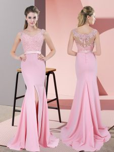 Enchanting Baby Pink Mermaid Lace and Appliques Evening Dresses Zipper Chiffon Sleeveless