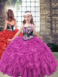 Fuchsia Sleeveless Organza Lace Up Little Girls Pageant Dress Wholesale for Party and Military Ball and Wedding Party