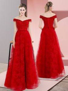 Red Juniors Evening Dress Organza Sweep Train Sleeveless Beading and Lace