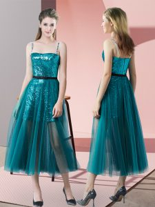 Amazing Teal Tulle Zipper Homecoming Dress Sleeveless Tea Length Sequins