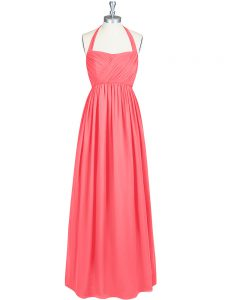 Lovely Watermelon Red Sleeveless Chiffon Zipper Dress for Prom for Prom and Party and Wedding Party
