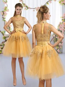 Discount High-neck Cap Sleeves Tulle Court Dresses for Sweet 16 Lace and Bowknot Zipper