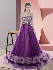 Superior Sweetheart Sleeveless Tulle Dress for Prom Appliques Sweep Train Lace Up