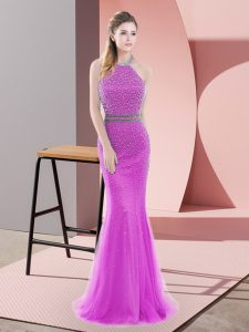 Hot Selling Halter Top Sleeveless Tulle Prom Dress Beading Brush Train Backless