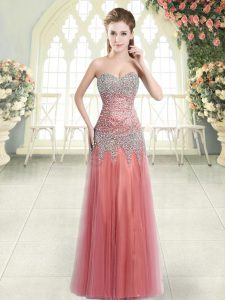 Beautiful Watermelon Red Prom Party Dress Prom and Party with Beading Sweetheart Sleeveless Zipper
