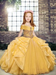 High End Sleeveless Beading and Ruffles Lace Up Kids Formal Wear
