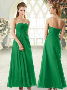 Sleeveless Chiffon Floor Length Zipper in Green with Ruching