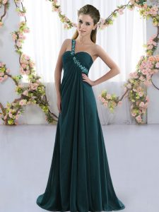 New Style Sleeveless Beading Lace Up Quinceanera Court of Honor Dress with Peacock Green Brush Train