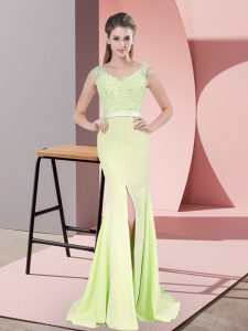Modern V-neck Sleeveless Prom Gown Sweep Train Beading and Lace Yellow Green Chiffon