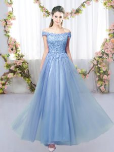 Simple Floor Length Lace Up Damas Dress Blue for Prom and Party and Wedding Party with Lace