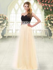 Champagne Empire Sweetheart Sleeveless Tulle Floor Length Zipper Appliques Prom Gown