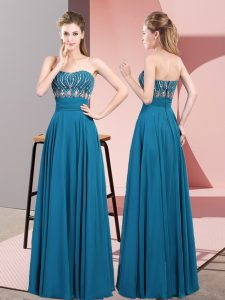 Beading Dress for Prom Blue Lace Up Sleeveless Floor Length