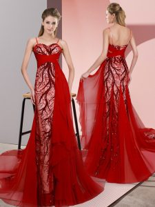 Red Sleeveless Satin Sweep Train Lace Up Prom Dress for Prom and Party