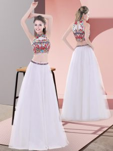 Exquisite White Tulle Lace Up Evening Dress Sleeveless Floor Length Embroidery