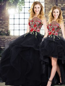 Classical Bateau Sleeveless 15th Birthday Dress Floor Length Beading and Embroidery Black Tulle