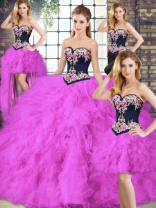 Fuchsia Lace Up Quinceanera Gowns Beading and Embroidery Sleeveless Floor Length