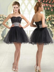 Tulle Sweetheart Sleeveless Lace Up Beading Prom Dress in Black