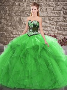 Superior Sleeveless Lace Up Floor Length Beading and Embroidery 15 Quinceanera Dress