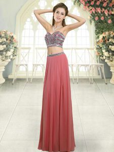 Custom Design Chiffon Sleeveless Floor Length Prom Evening Gown and Beading