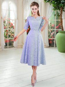 Smart V-neck Half Sleeves Prom Evening Gown Tea Length Lace Blue