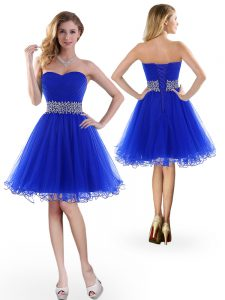 Nice Royal Blue Sleeveless Tulle Lace Up Prom Evening Gown for Prom and Party