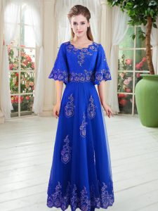 Scoop Half Sleeves Going Out Dresses Floor Length Lace Royal Blue Tulle