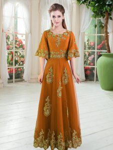 Floor Length Orange Dress for Prom Scalloped Half Sleeves Lace Up