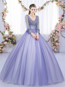 Floor Length Lavender Sweet 16 Dresses V-neck Long Sleeves Lace Up