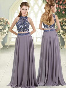 Affordable Beading Grey Backless Sleeveless Floor Length