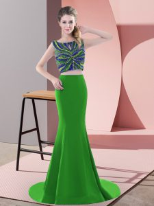 Ideal Green Prom Party Dress Prom and Party with Beading and Pick Ups Scoop Sleeveless Sweep Train Backless