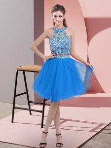 Smart Blue Two Pieces Beading Backless Organza Sleeveless Knee Length